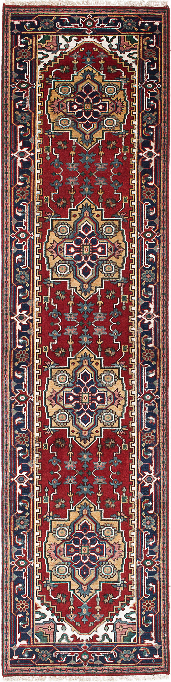 "Hand-knotted Indian Floral  Traditional Serapi-Heritage Runner rug  Dark Burgundy 2'7 x 10'2"" """