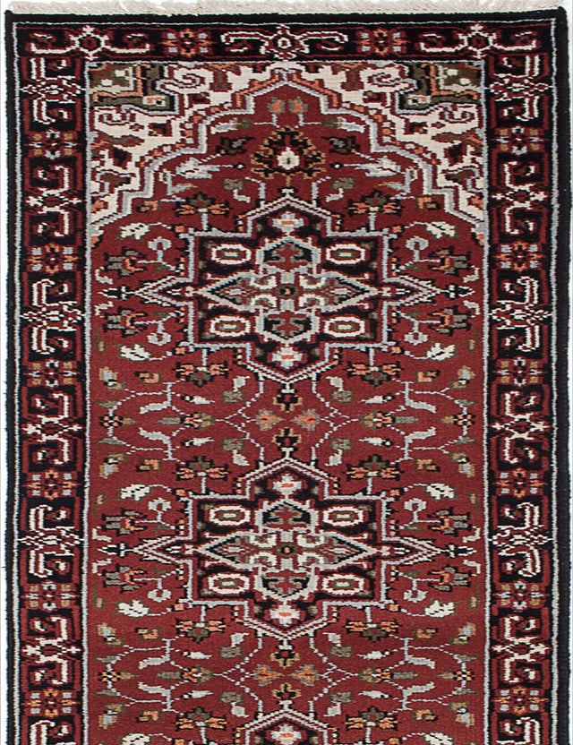 "Hand-knotted Indian Geometric  Traditional Royal-Heriz Runner rug  Beige, Black, Copper, Cream, Dark Green, Dark Red 2'6 x 20'0"" """