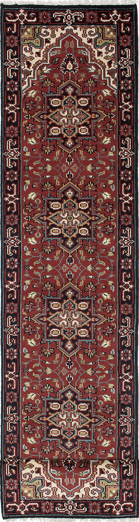 "Hand-knotted Indian Geometric  Traditional Royal-Heriz Runner rug  Dark Red 2'7 x 15'9"" """