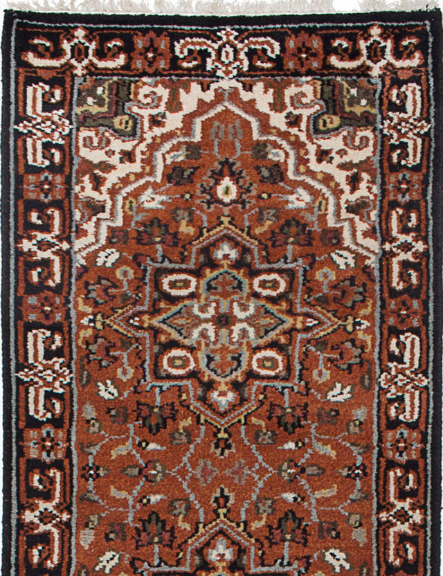 Hand-knotted Indian Geometric  Traditional Royal-Heriz Runner rug  Copper 2.6 x 11.1