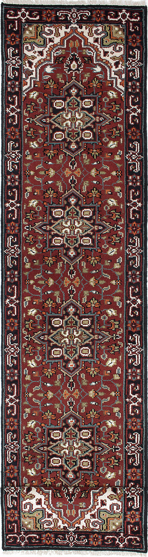 "Hand-knotted Indian Geometric  Traditional Royal-Heriz Runner rug  Dark Red 2'7 x 15'11"" """