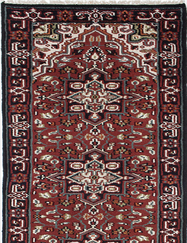 "Hand-knotted Indian Geometric  Traditional Royal-Heriz Runner rug  Dark Red 2'7 x 16'2"" """