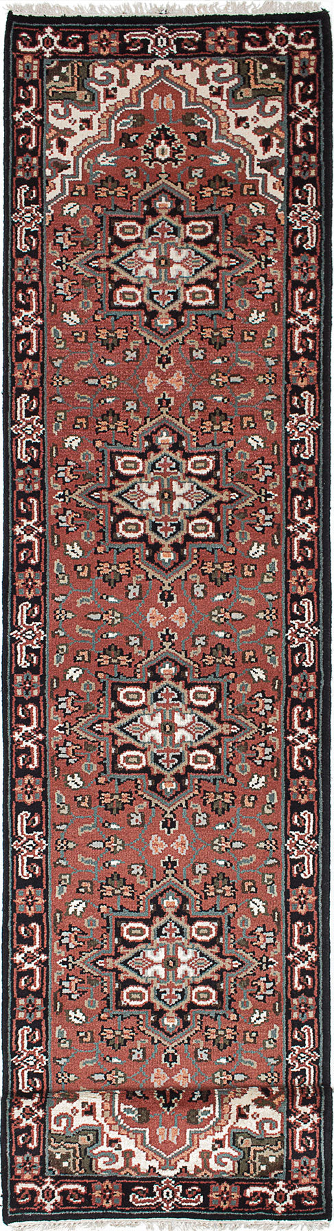 "Hand-knotted Indian Geometric  Traditional Royal-Heriz Runner rug  Copper 2'7 x 13'7"" """