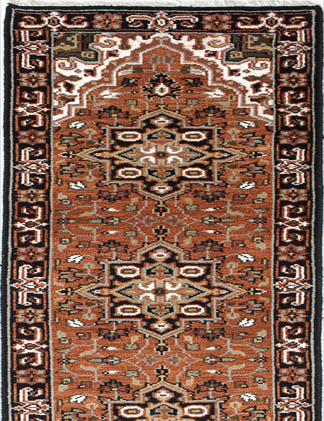 "Hand-knotted Indian Geometric  Traditional Royal-Heriz Runner rug  Copper 2'7 x 19'7"" """