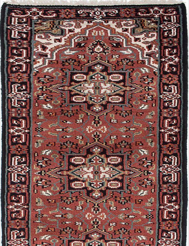 "Hand-knotted Indian Geometric  Traditional Royal-Heriz Runner rug  Copper 2'7 x 19'8"" """