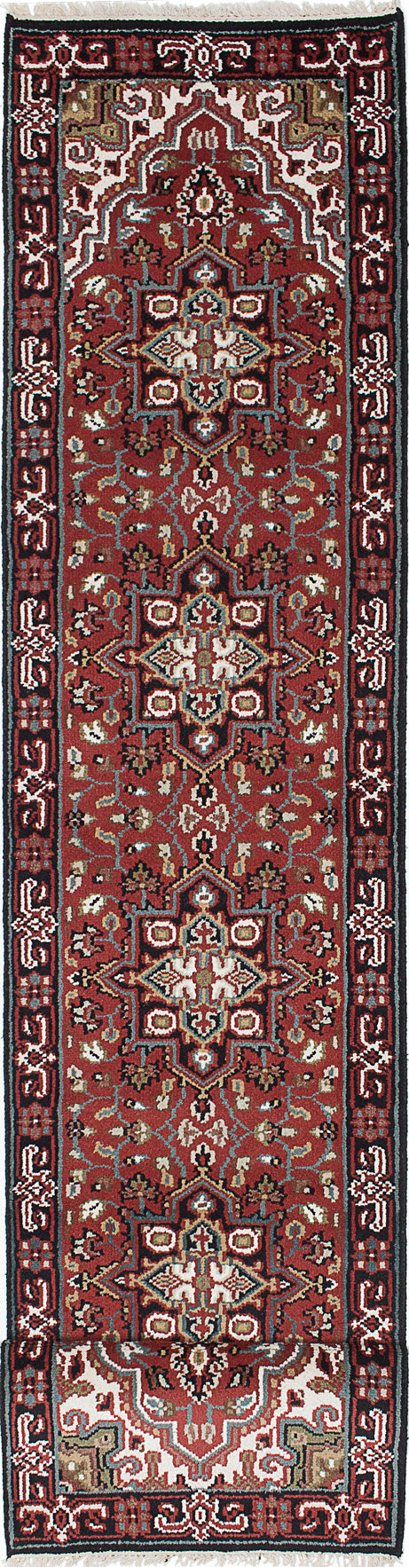 "Hand-knotted Indian Geometric  Traditional Royal-Heriz Runner rug  Dark Red 2'6 x 19'7"" """