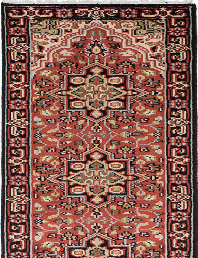 "Hand-knotted Indian Geometric  Traditional Royal-Heriz Runner rug  Copper 2'6 x 16'0"" """