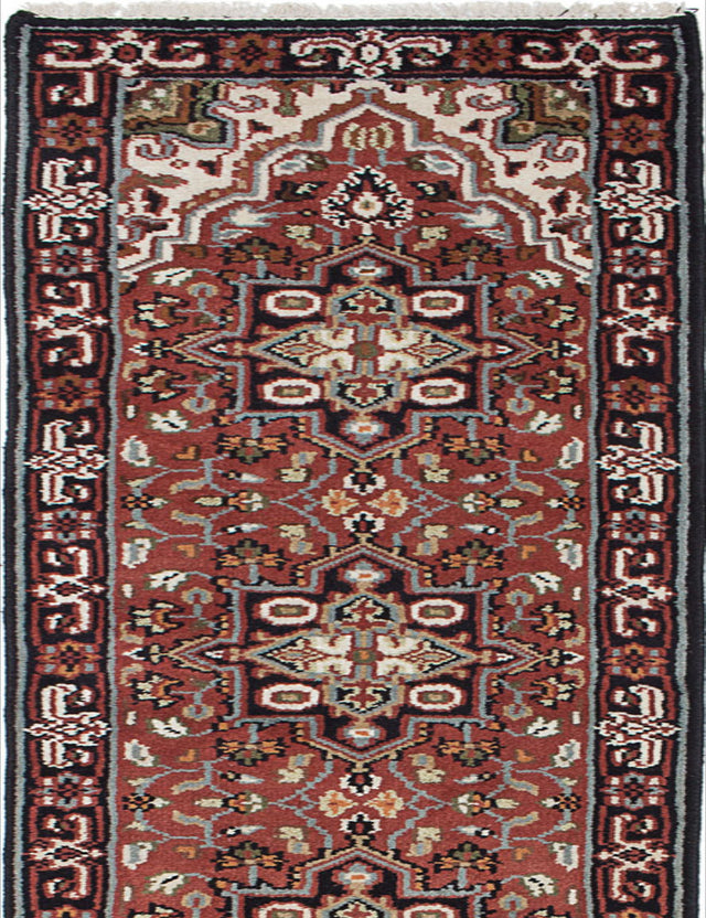 Hand-knotted Indian Geometric  Traditional Royal-Heriz Runner rug  Copper 2.5 x 16.1