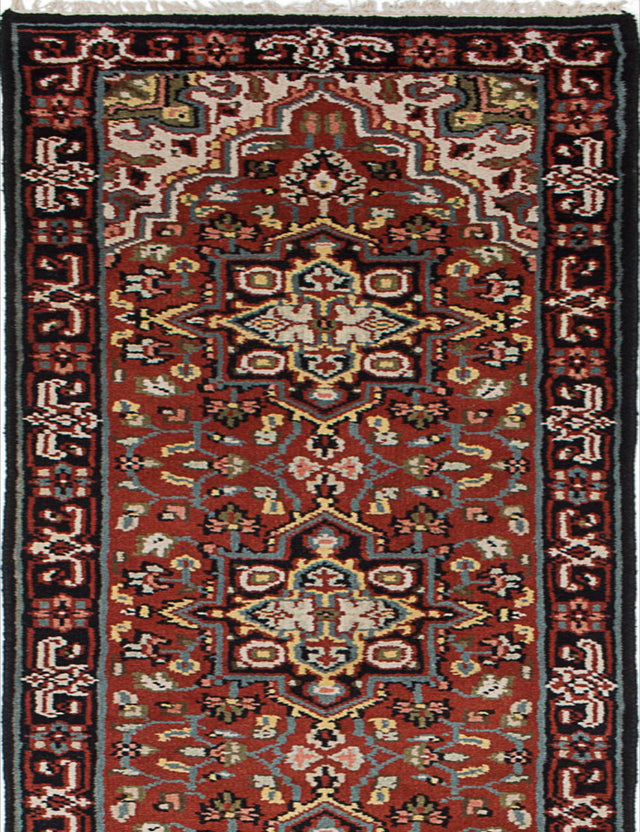 "Hand-knotted Indian Geometric  Traditional Royal-Heriz Runner rug  Dark Copper 2'7 x 16'2"" """