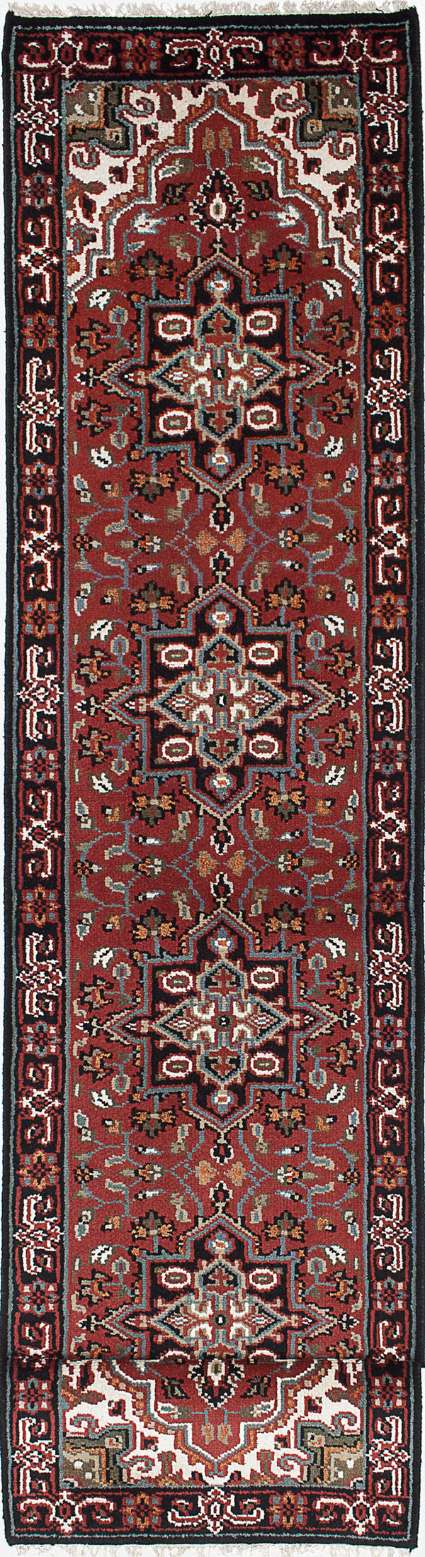 Hand-knotted Indian Geometric  Traditional Royal-Heriz Runner rug  Dark Red 2.8 x 20.2