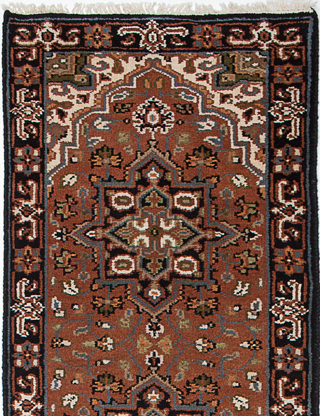 Hand-knotted Indian Geometric  Traditional Royal-Heriz Runner rug  Copper 2.6 x 15.1