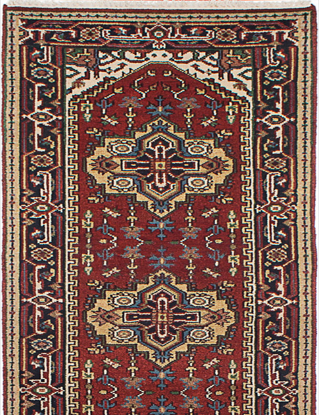 "Hand-knotted Indian Floral  Traditional Serapi-Heritage Runner rug  Dark Copper, Navy Blue 2'7 x 14'2"" """