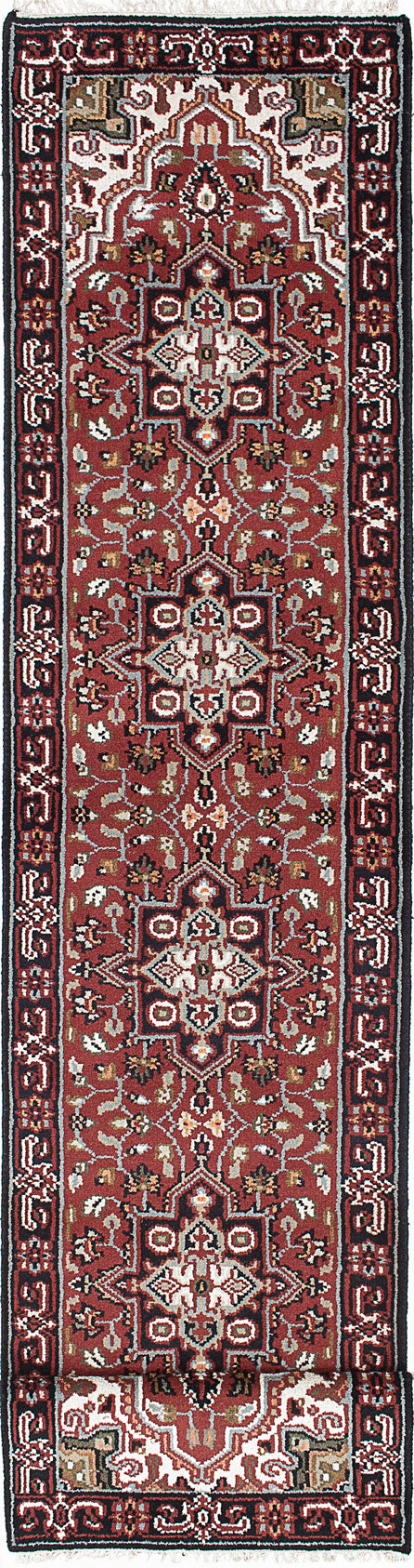"Hand-knotted Indian Geometric  Traditional Royal-Heriz Runner rug  Dark Red 2'7 x 20'0"" """