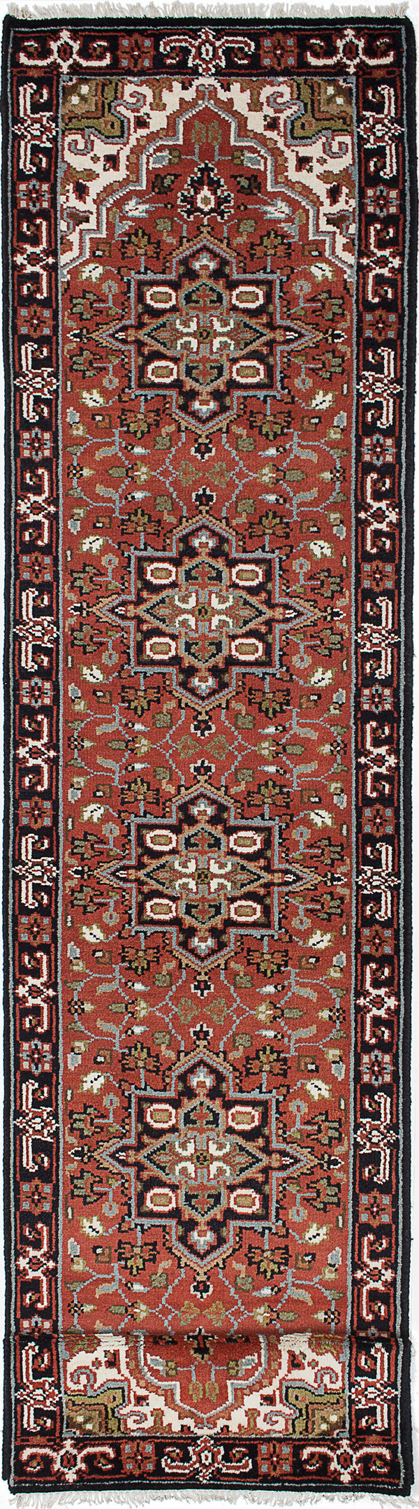 "Hand-knotted Indian Geometric  Traditional Royal-Heriz Runner rug  Dark Copper 2'8 x 11'9"" """