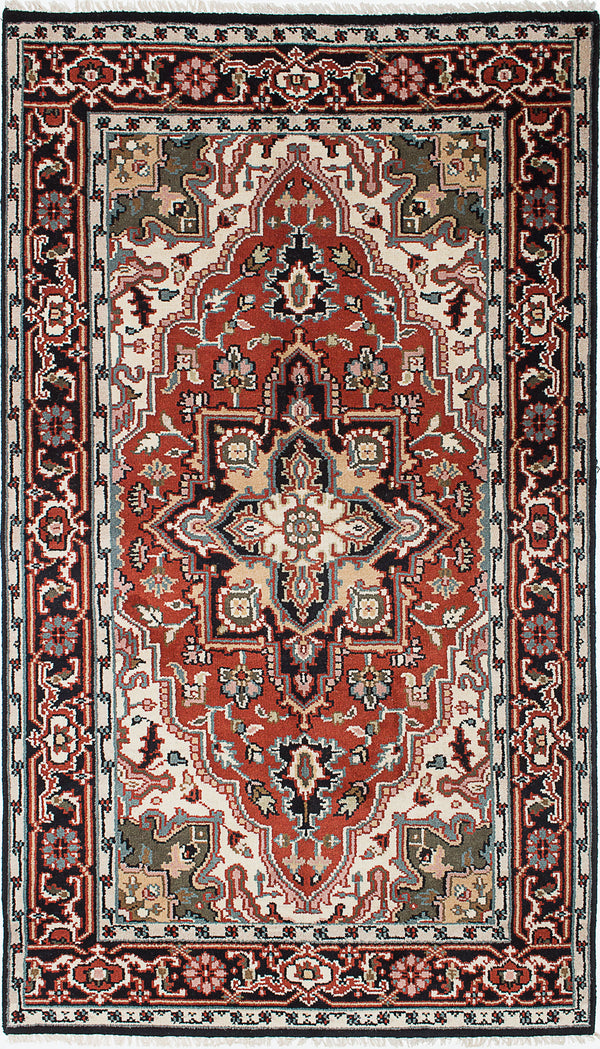 "Hand-knotted Indian Traditional Royal-Heriz Area rug  Black, Copper 4'11 x 8'2"" """