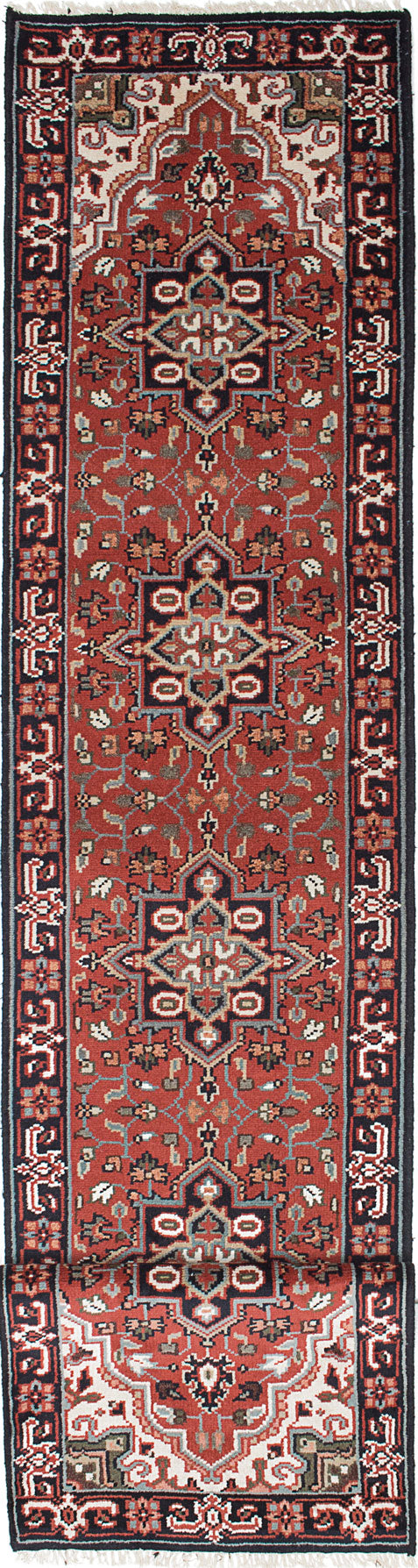 Hand-knotted Indian Geometric  Traditional Royal-Heriz Runner rug  Dark Red 2.6 x 19.9