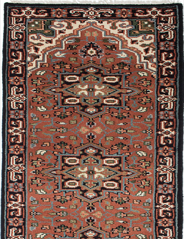 "Hand-knotted Indian Geometric  Traditional Royal-Heriz Runner rug  Copper 2'7 x 19'11"" """