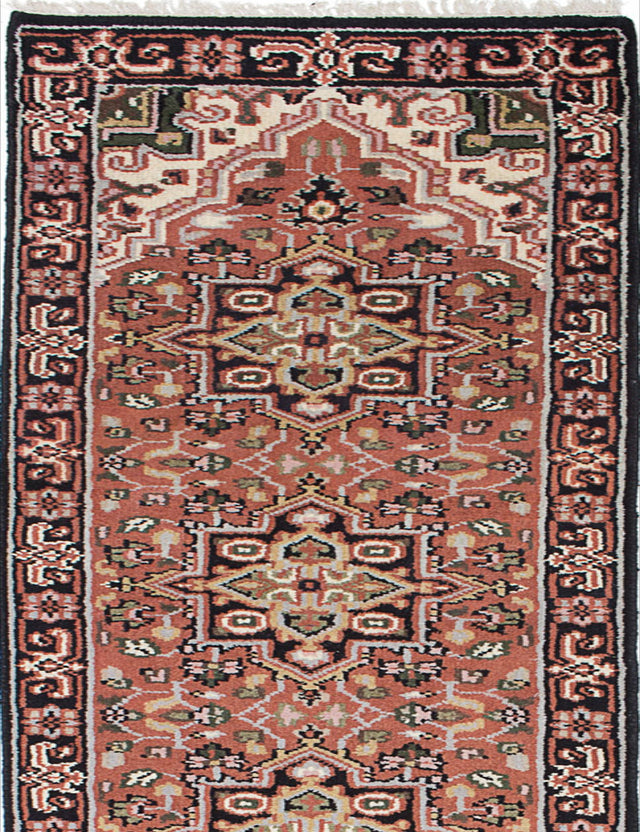 "Hand-knotted Indian Geometric  Traditional Royal-Heriz Runner rug  Black, Copper 2'7 x 19'3"" """