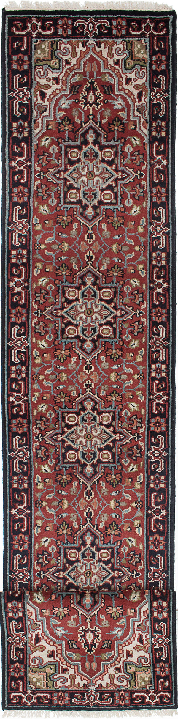 "Hand-knotted Indian Geometric  Traditional Royal-Heriz Runner rug  Dark Red 2'4 x 15'10"" """