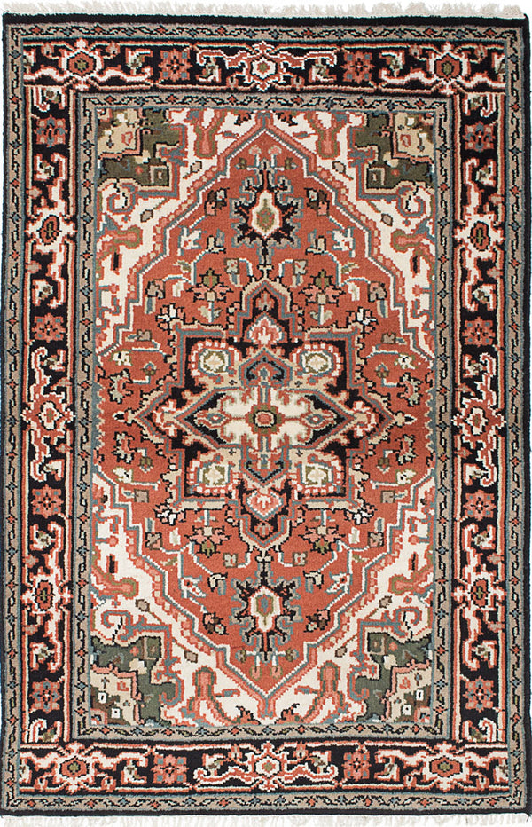 "Hand-knotted Indian Traditional Royal-Heriz Area rug  Copper 4'0 x 6'0"" """