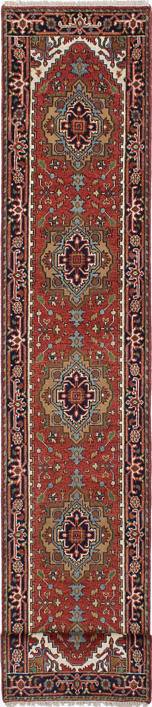 Hand-knotted Indian Floral  Traditional Serapi-Heritage Runner rug  Dark Copper, Navy Blue 2.6 x 15.1