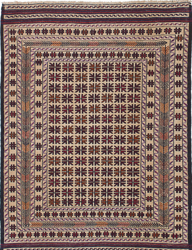 "Flat-weave Afghan Traditional  Tribal Shiravan-Sumak Area rug  Dark Red, Ivory 4'3 x 6'2"" """