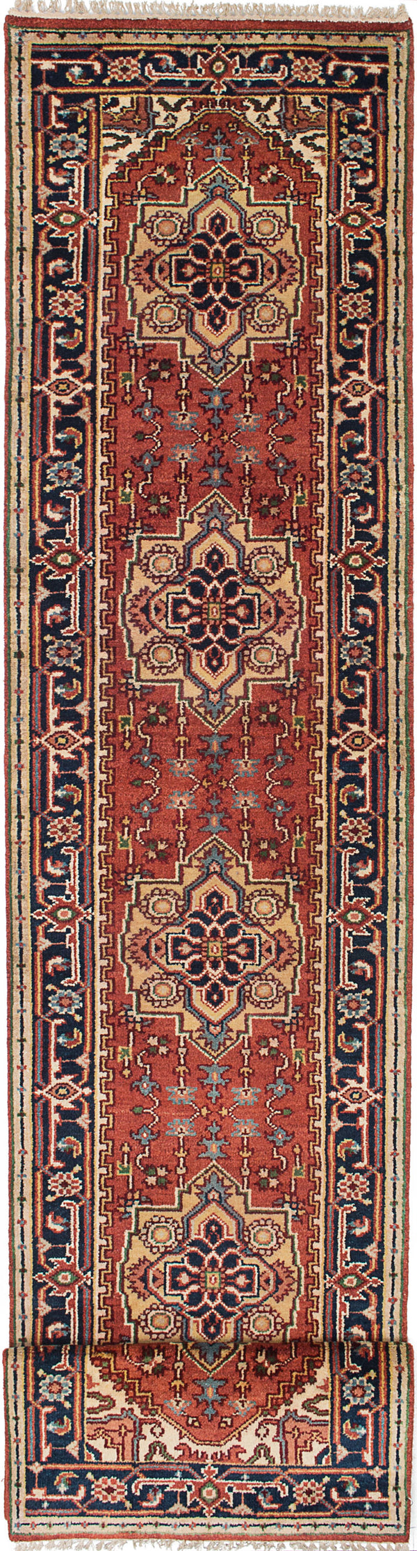 "Hand-knotted Indian Floral  Traditional Serapi-Heritage Runner rug  Dark Copper, Navy Blue 2'7 x 12'2"" """