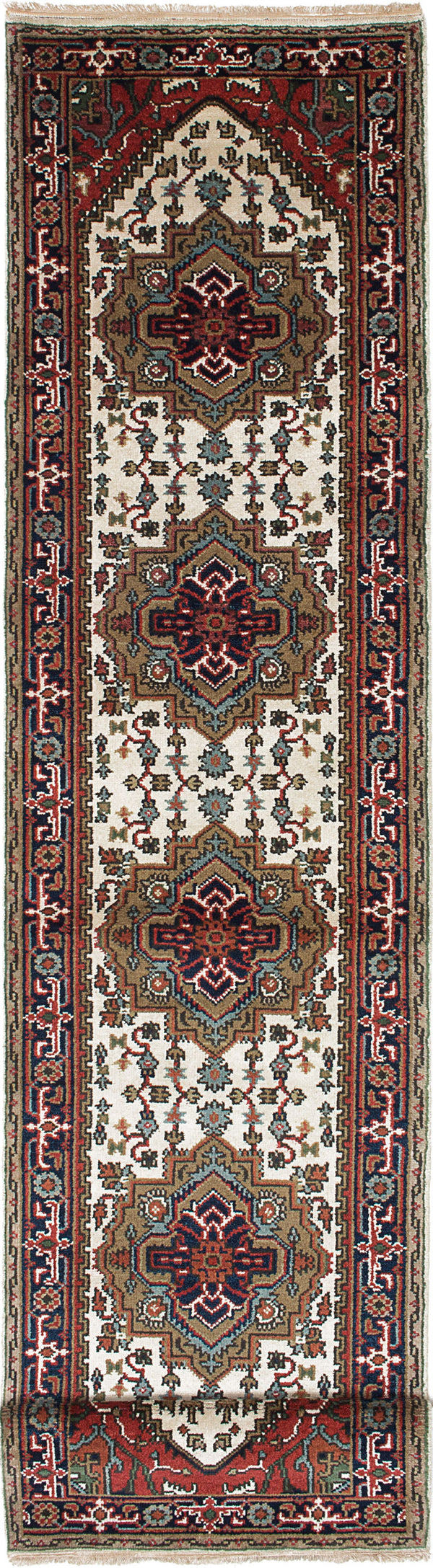 "Hand-knotted Indian Floral  Traditional Serapi-Heritage Runner rug  Cream, Navy Blue 2'8 x 13'9"" """