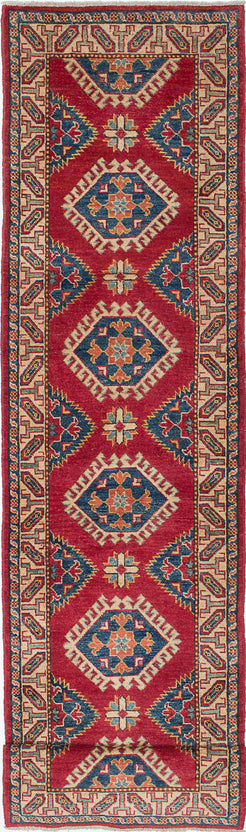 Hand-Knotted Area rug Geometric, Traditional Ivory, Red