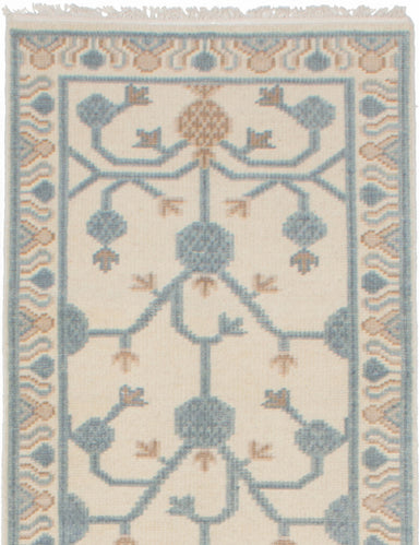 "Hand-knotted Indian Floral  Traditional Stonewash-Ushak Runner rug  Cream 2'9 x 12'3"" """
