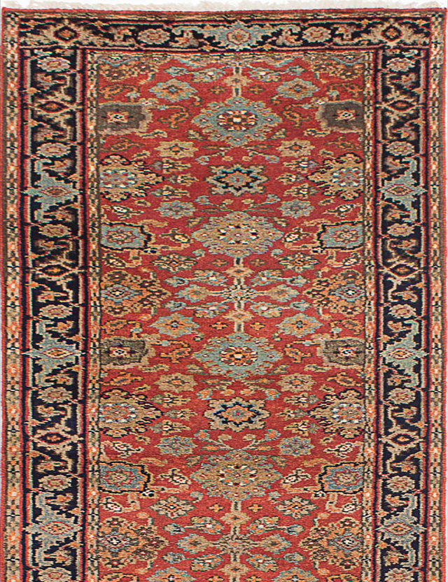 "Hand-knotted Indian Floral  Traditional Serapi-Heritage Runner rug  Dark Copper 2'7 x 15'10"" """