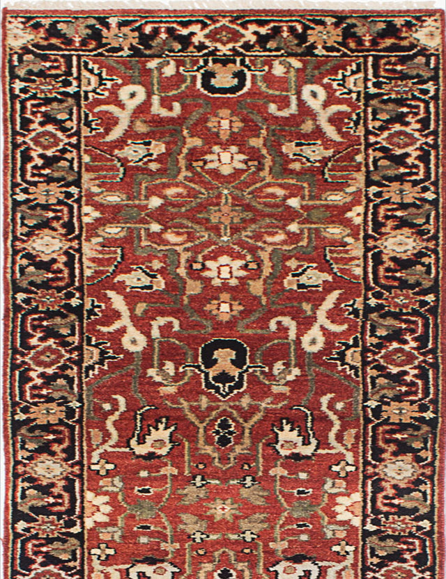 "Hand-knotted Indian Floral  Traditional Serapi-Heritage Runner rug  Dark Burgundy 2'8 x 15'5"" """