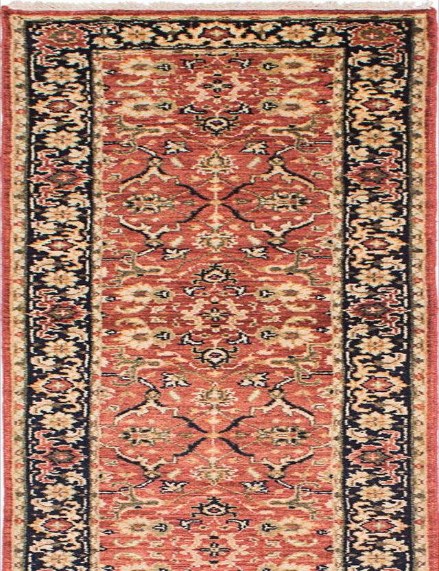 "Hand-knotted Indian Floral  Traditional Serapi-Heritage Runner rug  Copper 2'8 x 15'11"" """