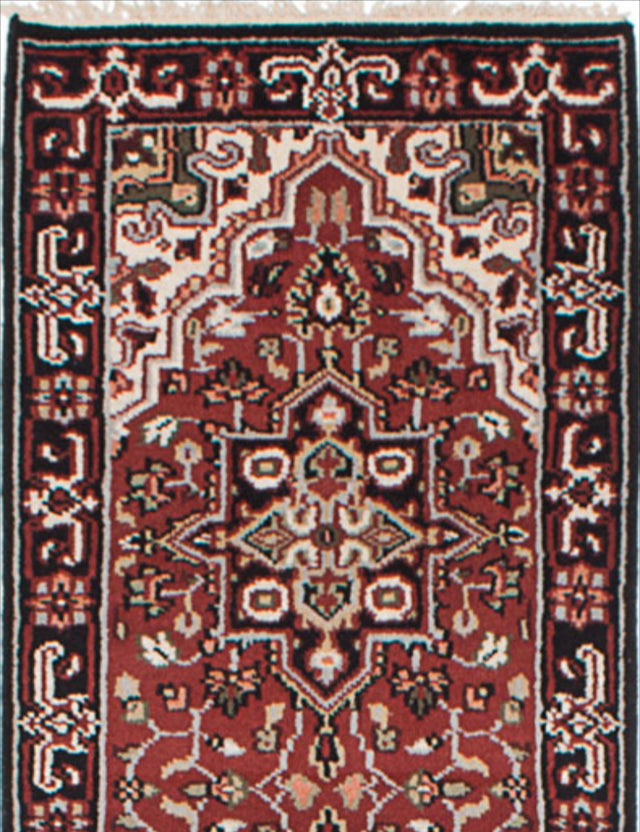 "Hand-knotted Indian Geometric  Traditional Royal-Heriz Runner rug  Dark Red 2'6 x 16'2"" """