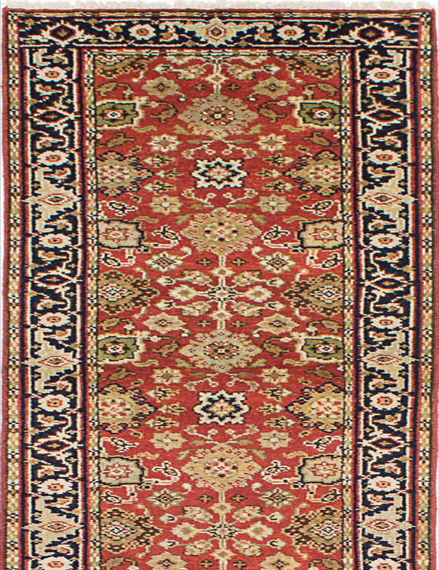 "Hand-knotted Indian Floral  Traditional Serapi-Heritage Runner rug  Dark Copper 2'7 x 15'11"" """
