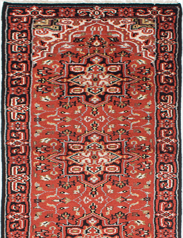 Hand-knotted Indian Geometric  Traditional Royal-Heriz Runner rug  Dark Burgundy 2.6 x 16.2