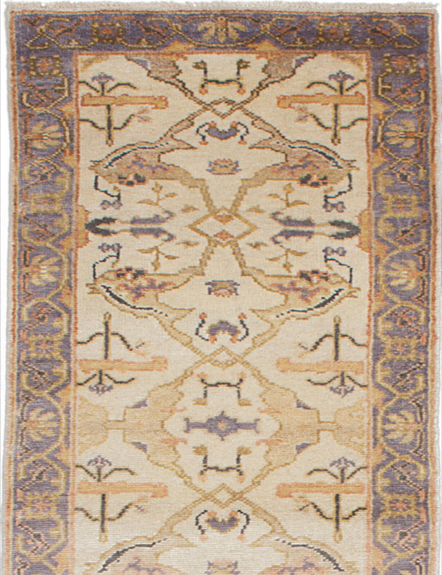 "Hand-knotted Indian Floral  Traditional Royal-Ushak Runner rug  Cream 2'7 x 13'10"" """