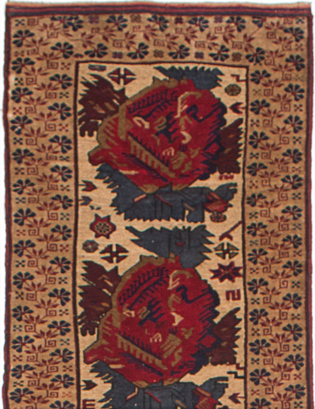 "Hand-knotted  Carved  Traditional Ghafkazi Runner rug  Beige, Dark Red 2'7 x 12'6"" """