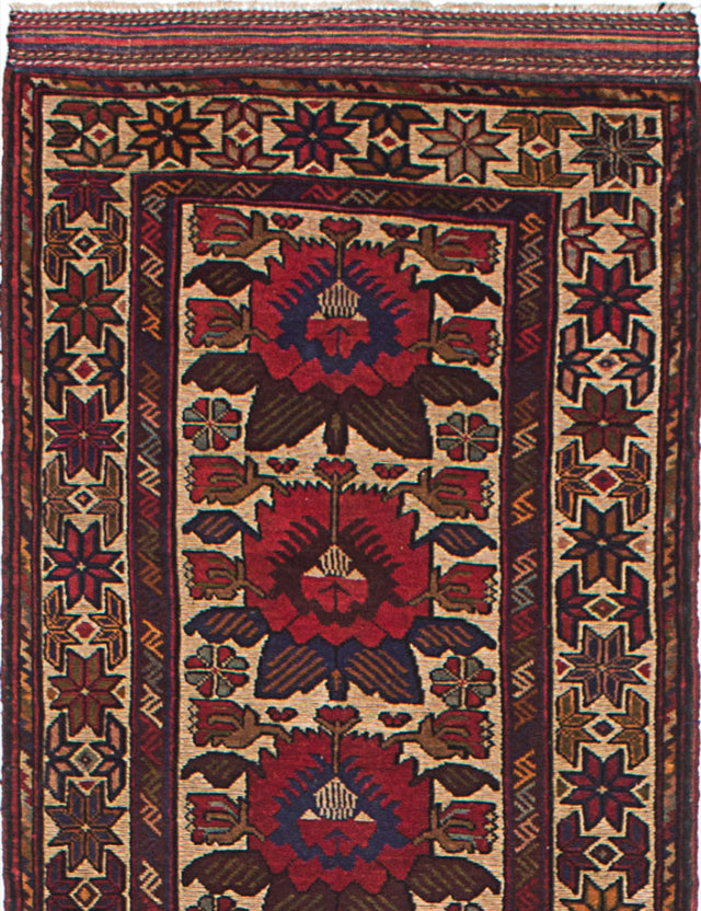"Hand-knotted  Carved  Traditional Ghafkazi Runner rug  Dark Red, Yellow 2'7 x 12'3"" """