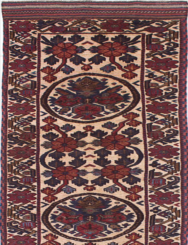"Hand-knotted  Carved  Traditional Ghafkazi Runner rug  Dark Red, Ivory 2'9 x 12'4"" """