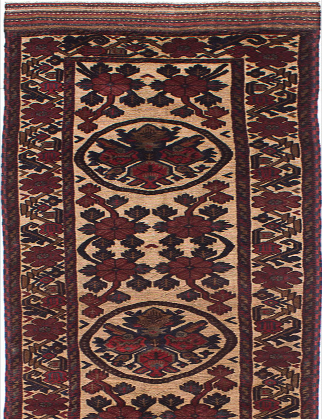 "Hand-knotted  Carved  Traditional Ghafkazi Runner rug  Dark Red, Ivory 2'9 x 11'5"" """