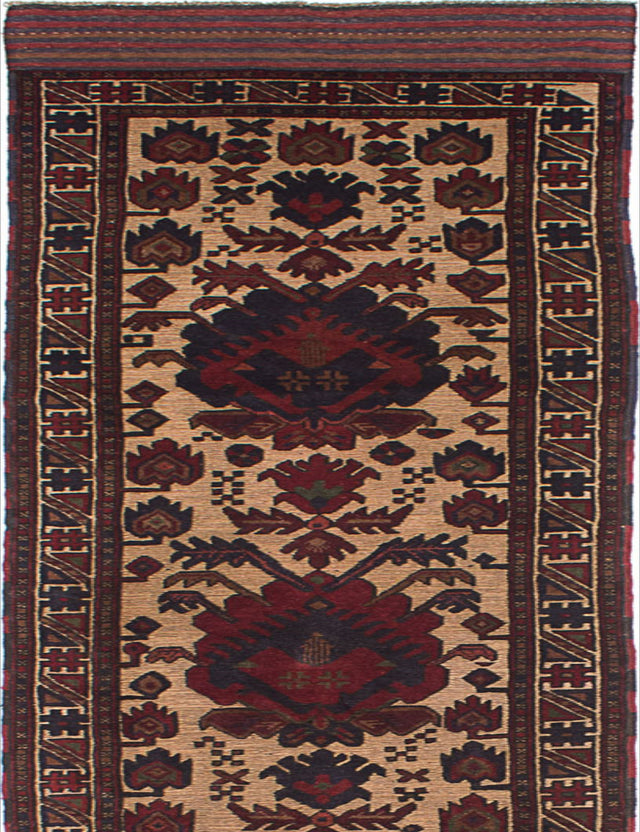 "Hand-knotted  Carved  Traditional Ghafkazi Runner rug  Dark Red, Ivory 2'8 x 12'4"" """