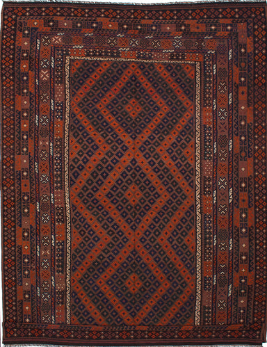 "Flat-weave  Flat-weaves & Kilims  Traditional Qashqai Area rug  Brown 9'0 x 12'11"" """