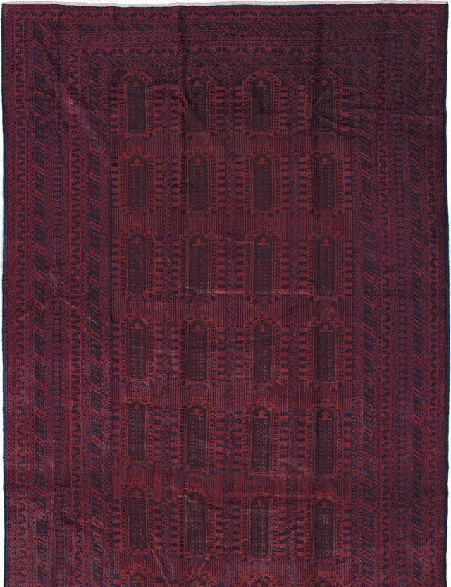 Hand-knotted Afghan Traditional Rizbaft Area rug  Dark Red 9.1 x 15