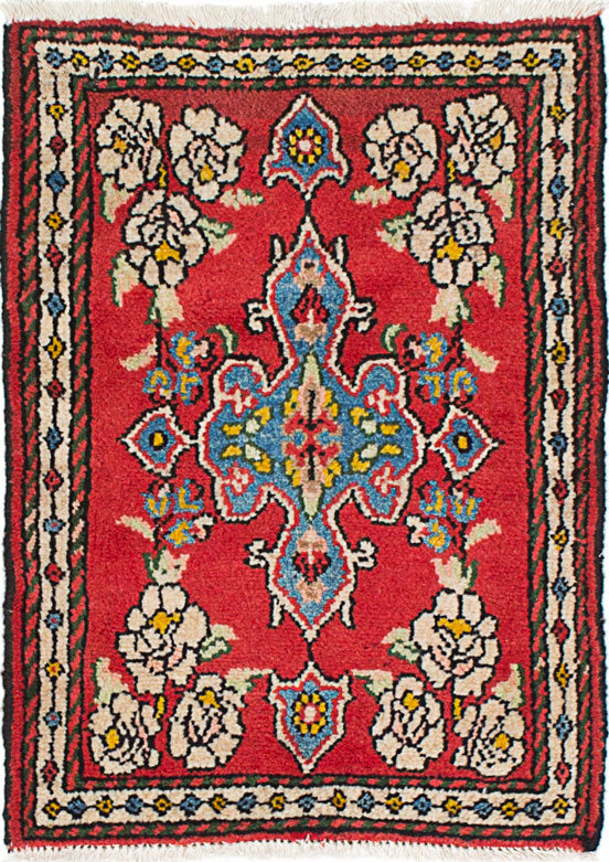 Hand-knotted Area rug Traditional Red