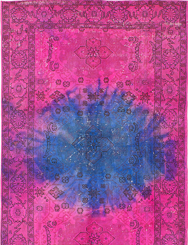 Hand-knotted Turkish Transitional Color-Transition Area rug  Light Magenta 4.4 x 7.6