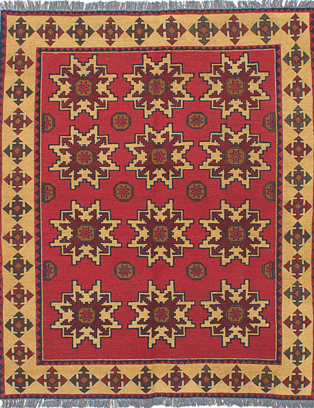 "Flat-weave Afghan Traditional Shiravan-Sumak Area rug  Red 5'0 x 6'1"" """