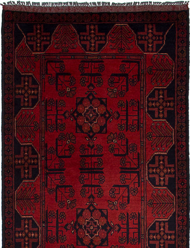 Hand-knotted Afghan Traditional Finest-Khal-Mohammadi Runner rug  Red 2.7 x 9.7