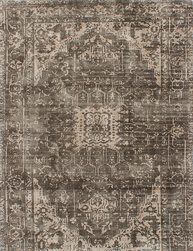 "Hand Loomed Indian Transitional Galleria Area rug  Dark Grey, Ivory 5'3 x 7'6"" """