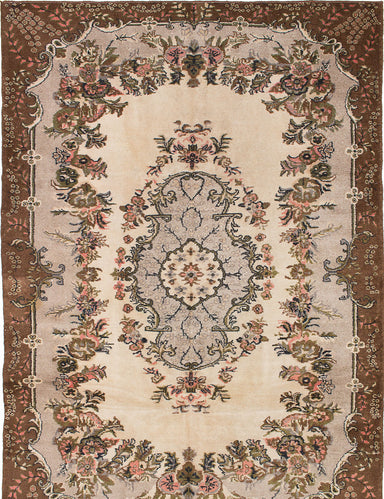 "Hand-knotted Turkish Traditional Antalya-Vintage Area rug  Cream, Light Grey 6'10 x 9'9"" """